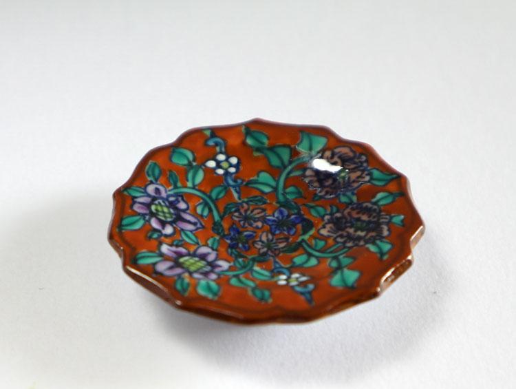 箸置き 豆皿 京焼清水焼 豆皿赤地牡丹鉄線(5客)■双楽窯