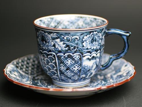 カップ&ソーサー京焼清水焼 染付祥瑞山水珈琲碗皿 ■双楽窯