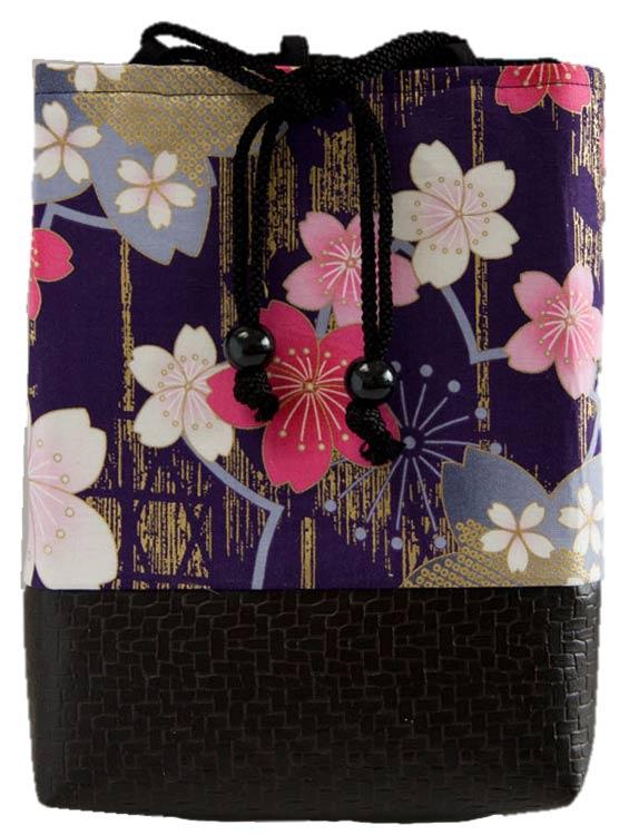 女性用小物袋(ポーチ)巾着袋 信玄袋 「桜浪漫巾着(紫)」■小室久美子