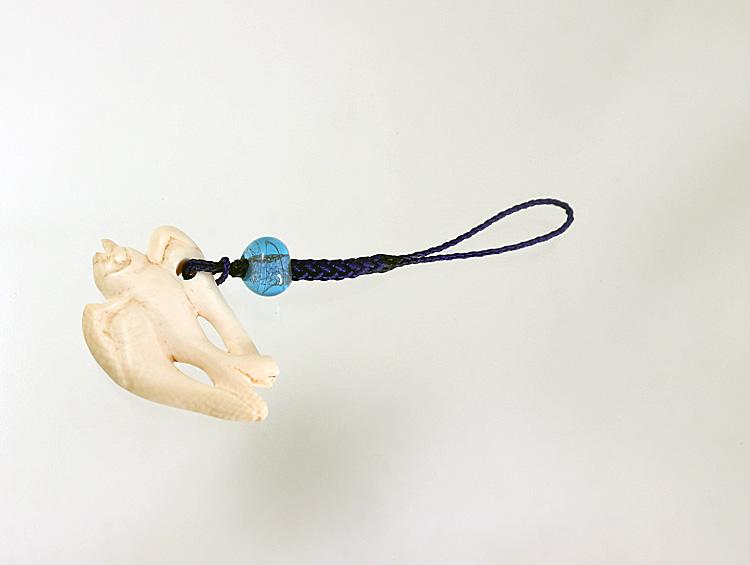 帯飾り 「 飛燕 」根付ストラップ 河馬の牙 ■光斎