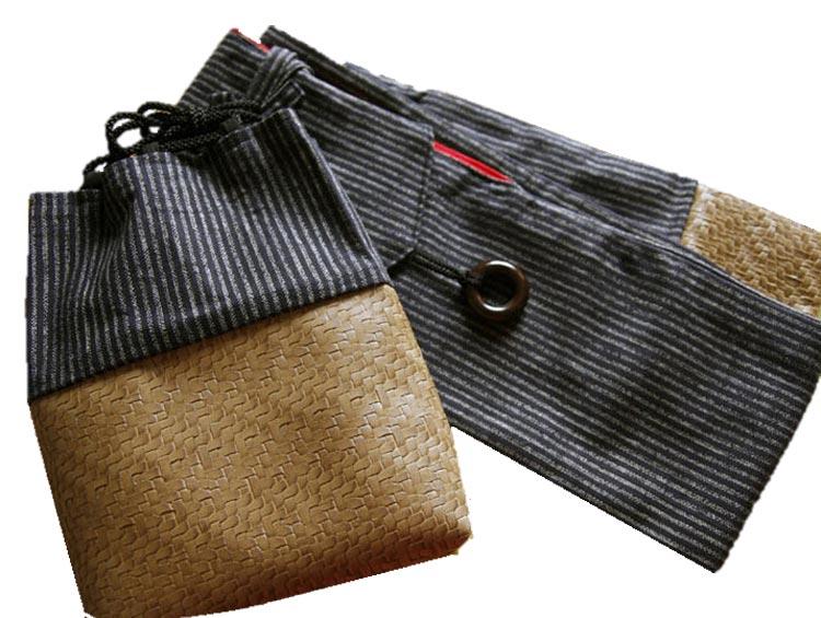 竹刀袋 剣道具竹刀袋(3本入り)&巾着袋のセット(合皮・黒)縞柄■ 小室久美子