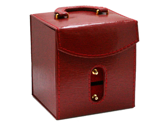 【ジュエリーボックス】 アクセサリーケース [レッド] 合成皮革&ベルベット 約115x100mm 赤色