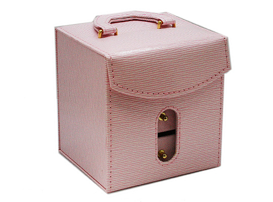【ジュエリーボックス】 アクセサリーケース [ピンク] 合成皮革&ベルベット 約115x100mm