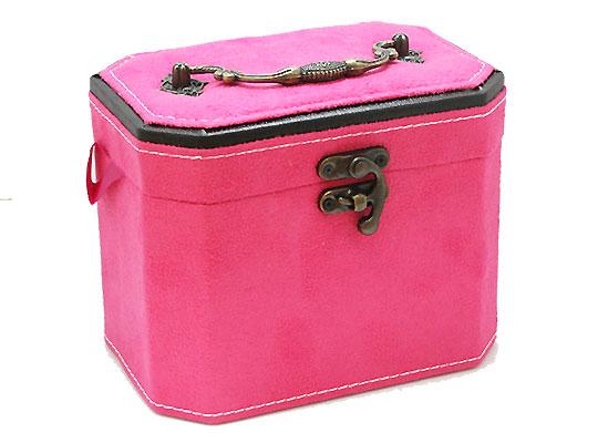 【ジュエリーボックス】 アクセサリーケース 鏡付き [ピンク] 合成皮革&ベルベット 約約160x120x110mm