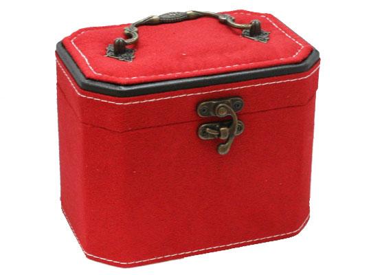 【ジュエリーボックス】 アクセサリーケース 鏡付き [レッド] 合成皮革&ベルベット 約約160x120x110mm 赤色