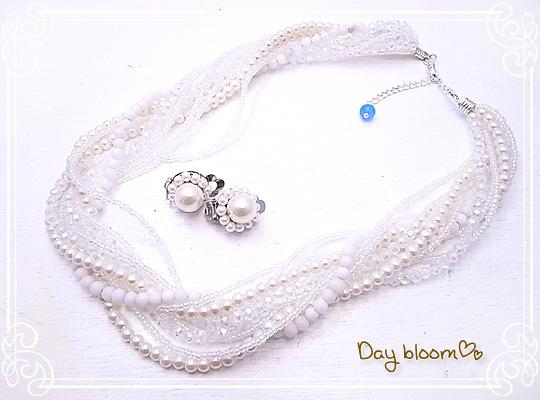 db-11 웨딩 액세서리 세트☆섬싱 블루 목걸이&귀걸이 Day bloom♪