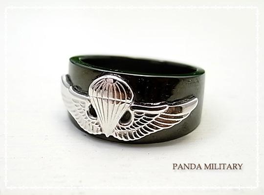 メンズ空挺リング(ブラック)指輪 17~29号 PANDA MILITARY ミリタリージュエリー☆