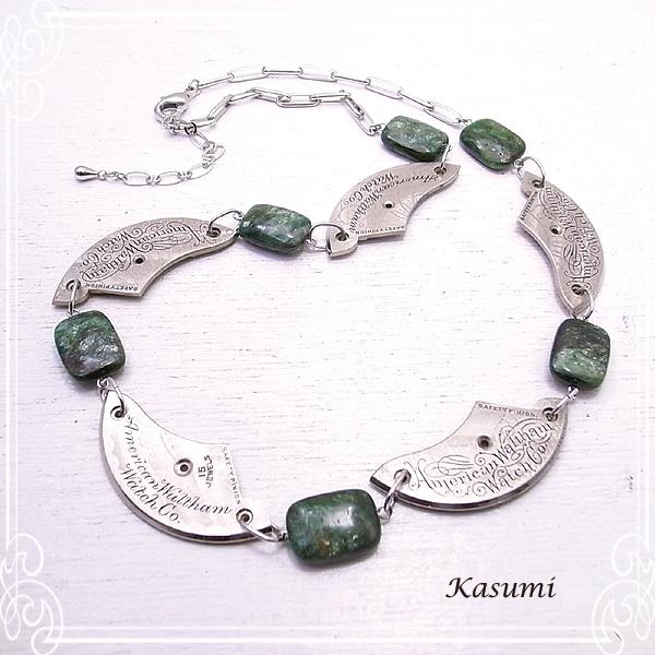 【Kasumi~かすみ~】時計の部品とルビーインフックサイトのネックレス ハンドメイド 作家 de-59-ks-45