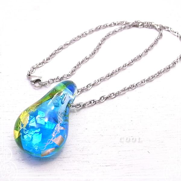銀箔とレースガラス トンボ玉 ネックレス ステンレスチェーン アクセサリー/作家/手作り/ガラス/とんぼ玉 【ガラスアート COOL】