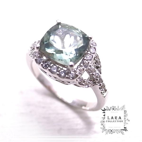 グリーンアメジスト(プラシオライト)&ジルコニア シルバーリング 指輪【14号】 Lara collection [ ララ コレクション ]