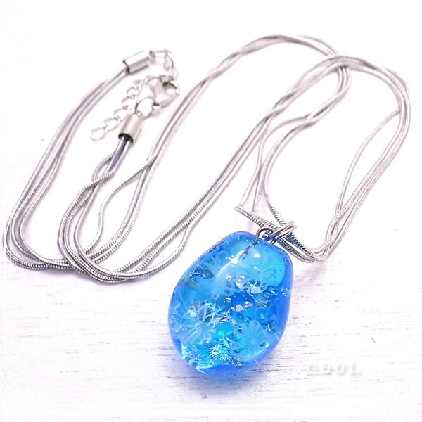 ブルー 銀箔 ガラス トンボ玉 ネックレス メタルチェーン 青 ガラス/とんぼ玉 【ガラスアート COOL】