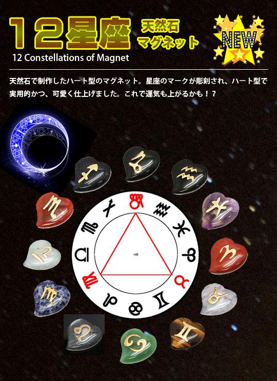 gem-mag-12set 天然石 12星座 ロゴ入り マグネットセット 約30x30x5mm  ロゴパーツ