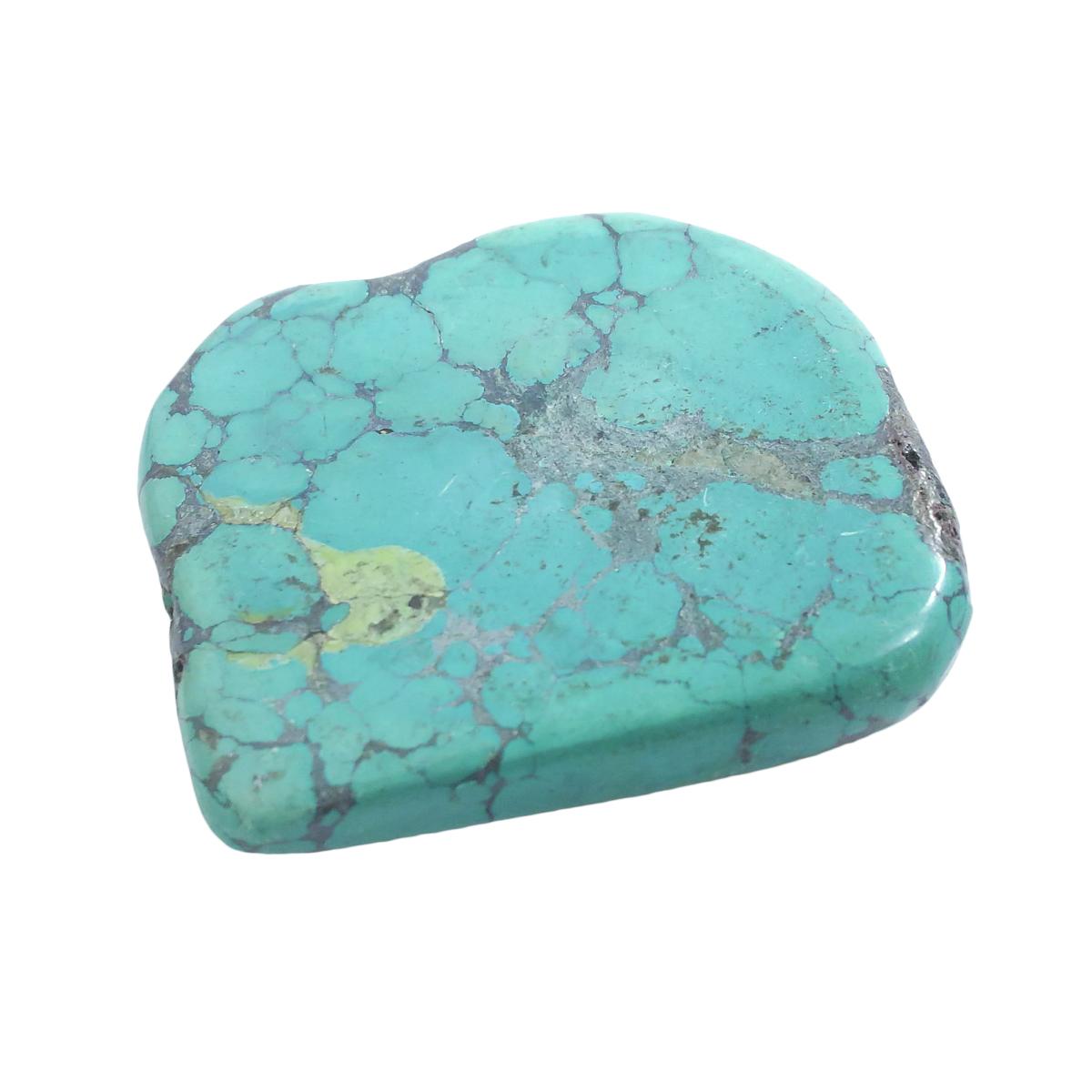 天然石パーツ ターコイズ トルコ石 スライスパーツ 両サイド片穴あり 約57.9x57.8x11.8mm
