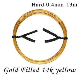 【13M】14Kイエロー ゴールドフィルド ラウンドワイヤー ハードタイプ 約 0.4mm 13m goldfilled K14GF 14KGF アクセサリーパーツ 金具 ハーフハード fw-14y
