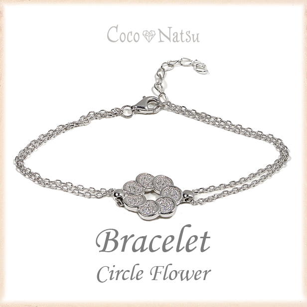 Fitted with KR bracelet jewelry circle flower Silver 925 CZ diamond  Platinum finish 065-BL-H9353
