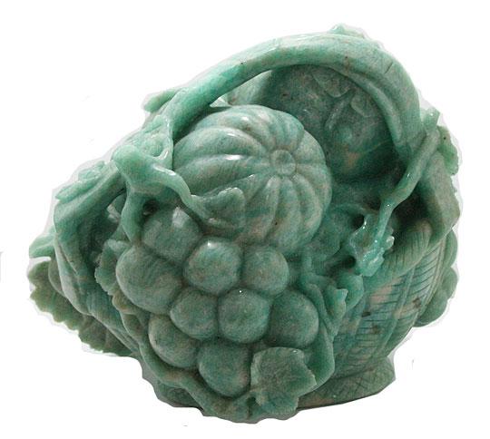 天然石 アマゾナイト フルーツバスケット 彫刻1点もの 原石 コレクション パワーストーン スピリチュアル ヒーリング
