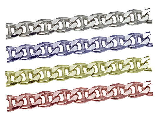 シルバーチェーン マリーナカットチェーン 切り売り サイズ(幅 約:3.9mm T1mm 長さ:1m) シルバー925 無垢
