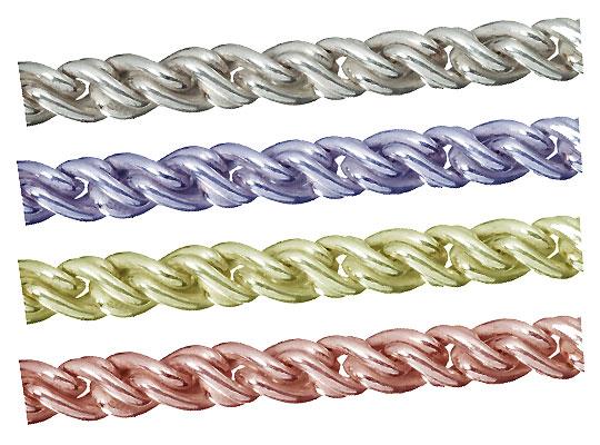 シルバーチェーン ルーズロープツイストチェーン 完成品(ネックレス) サイズ(幅 約:1.7mm 長さ:45cm) 10本 シルバー925 イエローロジウム