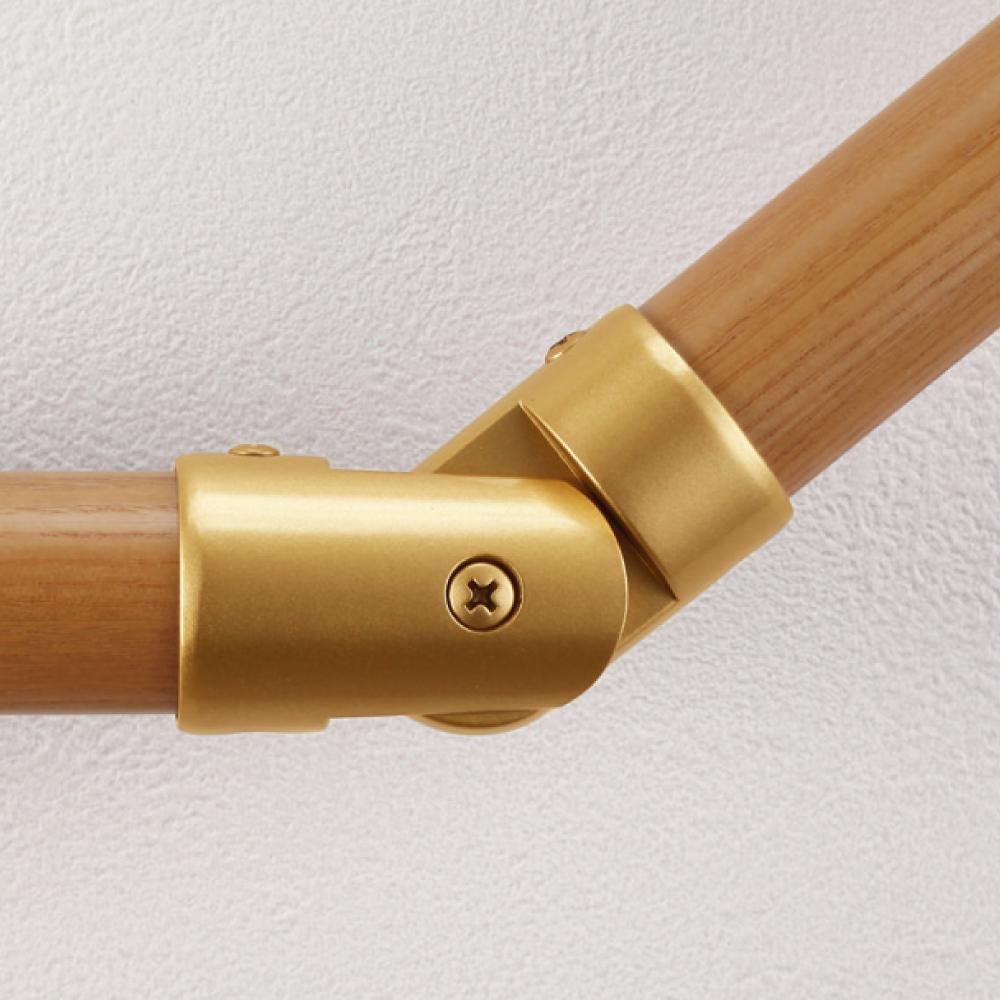 手すり棒を180°から90°まで自由な角度でジョイントする事ができます 同シリーズのECLE製品と組み合わせてご利用ください マツ六 ECLE システム手すり32シリーズ 商舗 L自在コーナー EL-703G ゴールド 階段 廊下 パーツ ブラケット 金具 柱 てすり 転倒予防 材料 福祉用品 角 介護用品 手摺 手スリ diy 初回限定