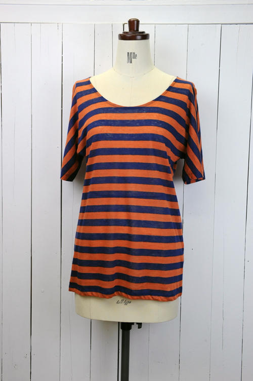 marimekko(マリメッコ)『LILLE』 TASARAITA  ニットTシャツ(色:オレンジ×ネイビー)※日本正規取扱店 02P03Dec16
