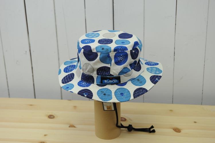『KAVU』コットンバケットハットDot(色:ホワイト×ブルー×ライトブルー)※日本正規販売店