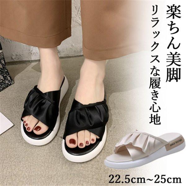 感謝価格 送料無料 サンダル レディース 靴 歩きやすい ローヒール 美脚靴 大きいサイズ シューズ WJ.スタジオ スリッパ 厚底サンダル 滑り止め 新登場