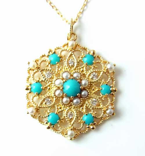 ゴールドジュエリー:K18YG トルコ石とシードパールとダイヤのペンダントNeo1AP07929