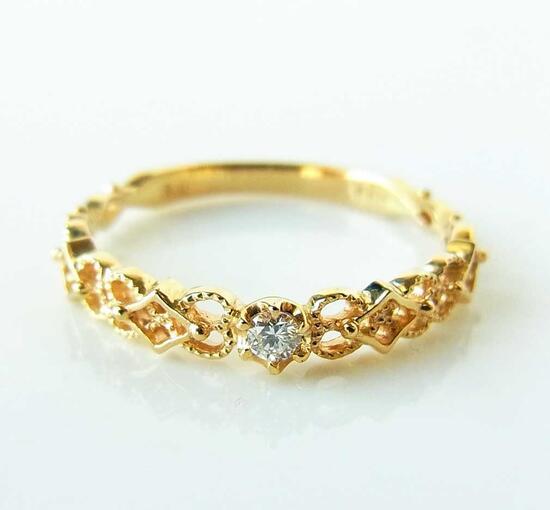 K10YG 透かし模様が美しいダイヤ のリングNeo1ar15309