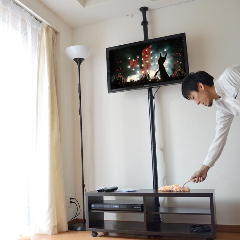 \最大2000円OFFクーポンセール /どこでも壁掛け風テレビスタンド「つっぱりTVポール」 TVBKLP61 ディスプレイスタンド 壁掛けTV テレビ デッドスペース TVスタンド