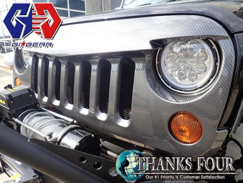Jeep WRANGLER JK※ 沖縄 離島の方は取次料としまして別途3 000円 税別 頂戴しております ジープ 公式通販 4ドア用 ラングラーJK ABS製P GIG アングリーグリルフェイクカーボン 日本限定 ジーアイギア LUX-JK1608-6 2 #