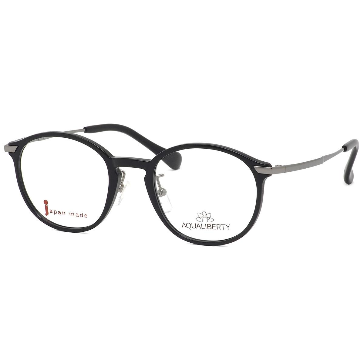 アクアリバティ AQUALIBERTY メガネ AQ22504 BK 48サイズ 日本製 メイドインジャパン MADE IN JAPAN キーホールブリッジ ダテメガネ 黒ぶち おしゃれ シンプル 軽い 伊達メガネレンズ無料 メンズ レディース