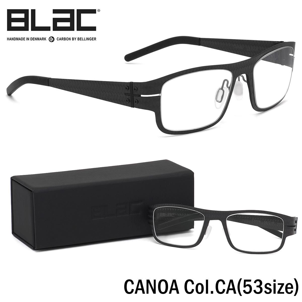 ほぼ全品ポイント15倍~20倍+15倍+2倍 ブラック BLaC メガネCANOA CA 53サイズCANOA カーボンファイバー CARBON FIBER アーバン スクエア シャープブラック BLaC メンズ レディース