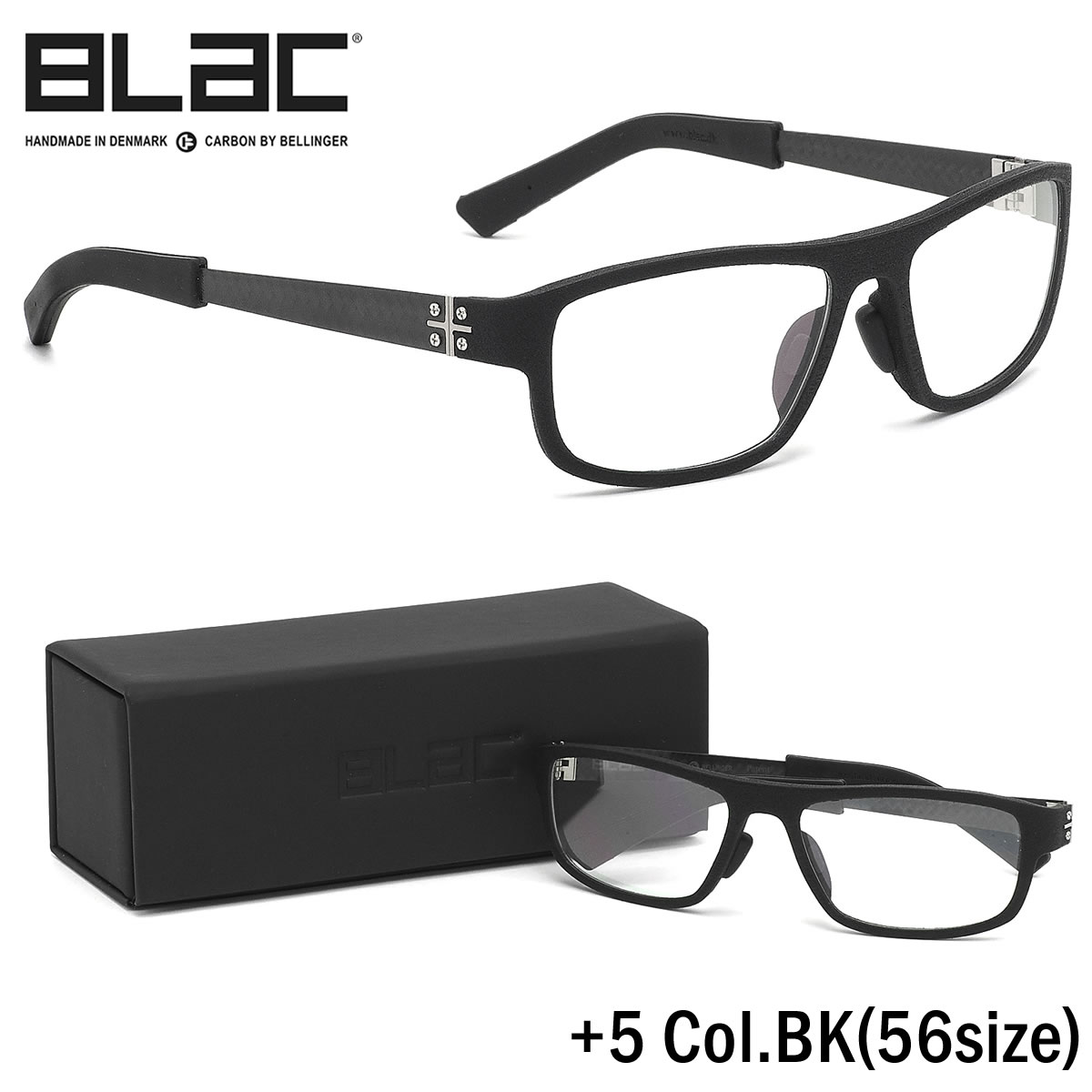 ポイント最大46倍お買い物マラソン8/4 20時スタート!!お得なクーポンも ブラック BLaC メガネ+5 BK 56サイズ+5 PLUS5 カーボンファイバー CARBON FIBER ハイブリッド BLaC+ ポリアミドブラック BLaC メンズ レディース