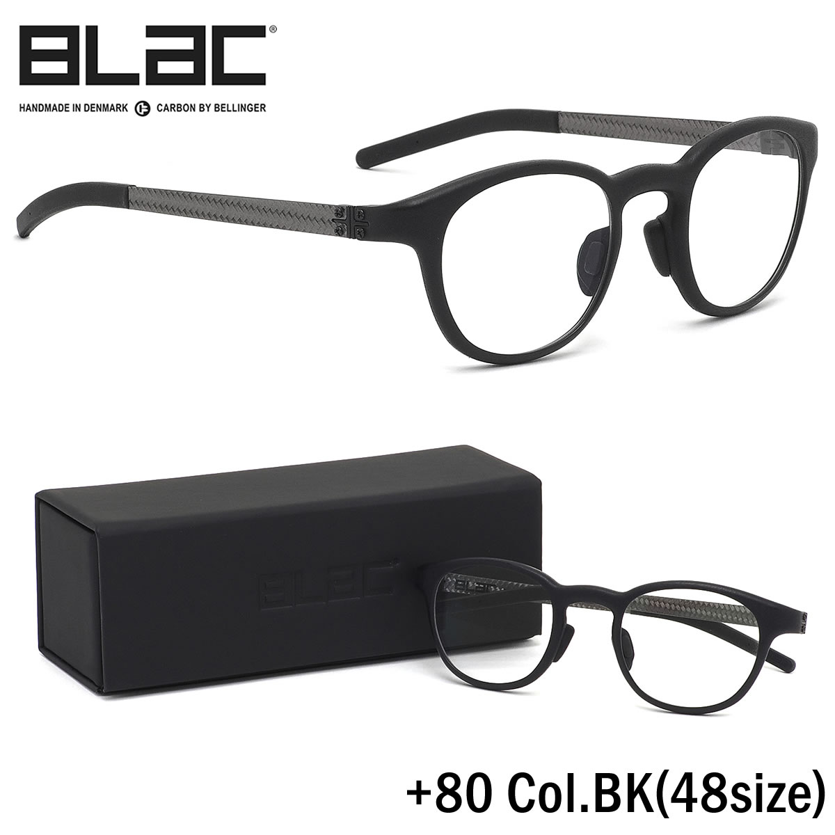 ほぼ全品ポイント15倍~20倍+15倍+2倍 ブラック BLaC メガネ+80 BK 48サイズ+80 PLUS80 カーボンファイバー CARBON FIBER ハイブリッド BLaC+ ポリアミドブラック BLaC メンズ レディース
