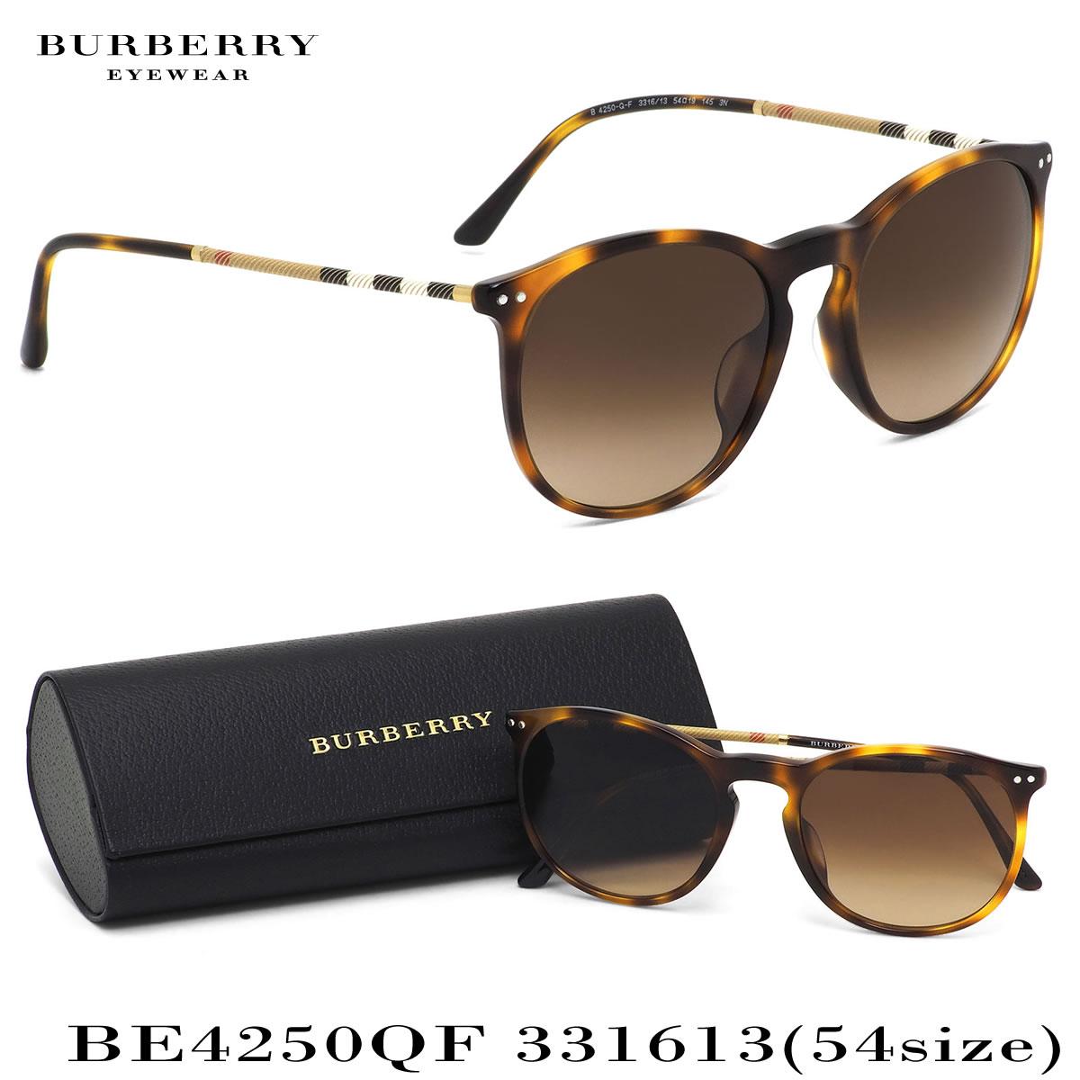 バーバリー BURBERRY サングラス BE4250QF 331613 54サイズ ウェリントン スクエア ハウスチェック キーホールブリッジ べっ甲 クラシック プローサム ロンドン prorsum バーバリー BURBERRY メンズ レディース