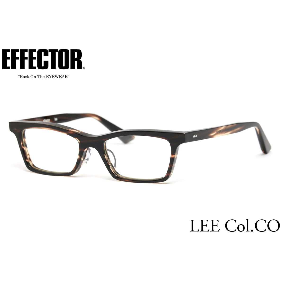 【10月30日からエントリーで全品ポイント20倍】【effector】エフェクター 眼鏡 メガネ フレーム LEE CO/S 50サイズ エフェクター effector リー UVカット仕様伊達メガネレンズ付 日本製 セルロイド レディース メンズ