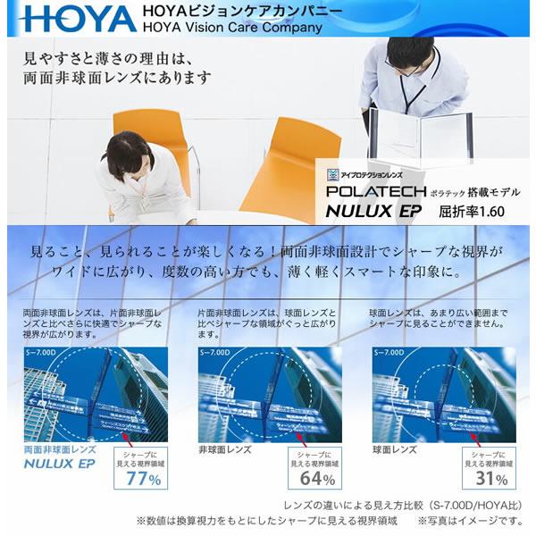 ほぼ全品ポイント15倍~最大34倍! HOYA(ホヤ) 両面非球面メガネレンズ 「NULUX EP 1.60」 POLATECH搭載モデル