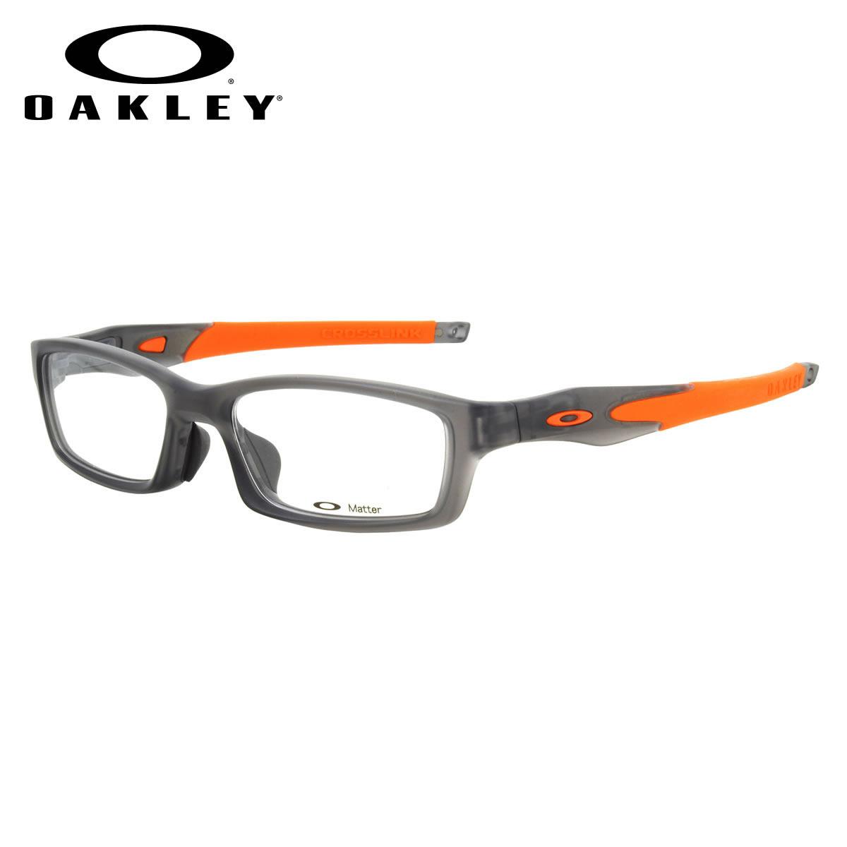 ec754f7d03 (OAKLEY) glasses OX8029-1756 CROSSLINK ASIA FIT Satin Grey Smoke Team  Orange cross-linked Asian fit sports square OAKLEY ITA eyeglass lens free  men women