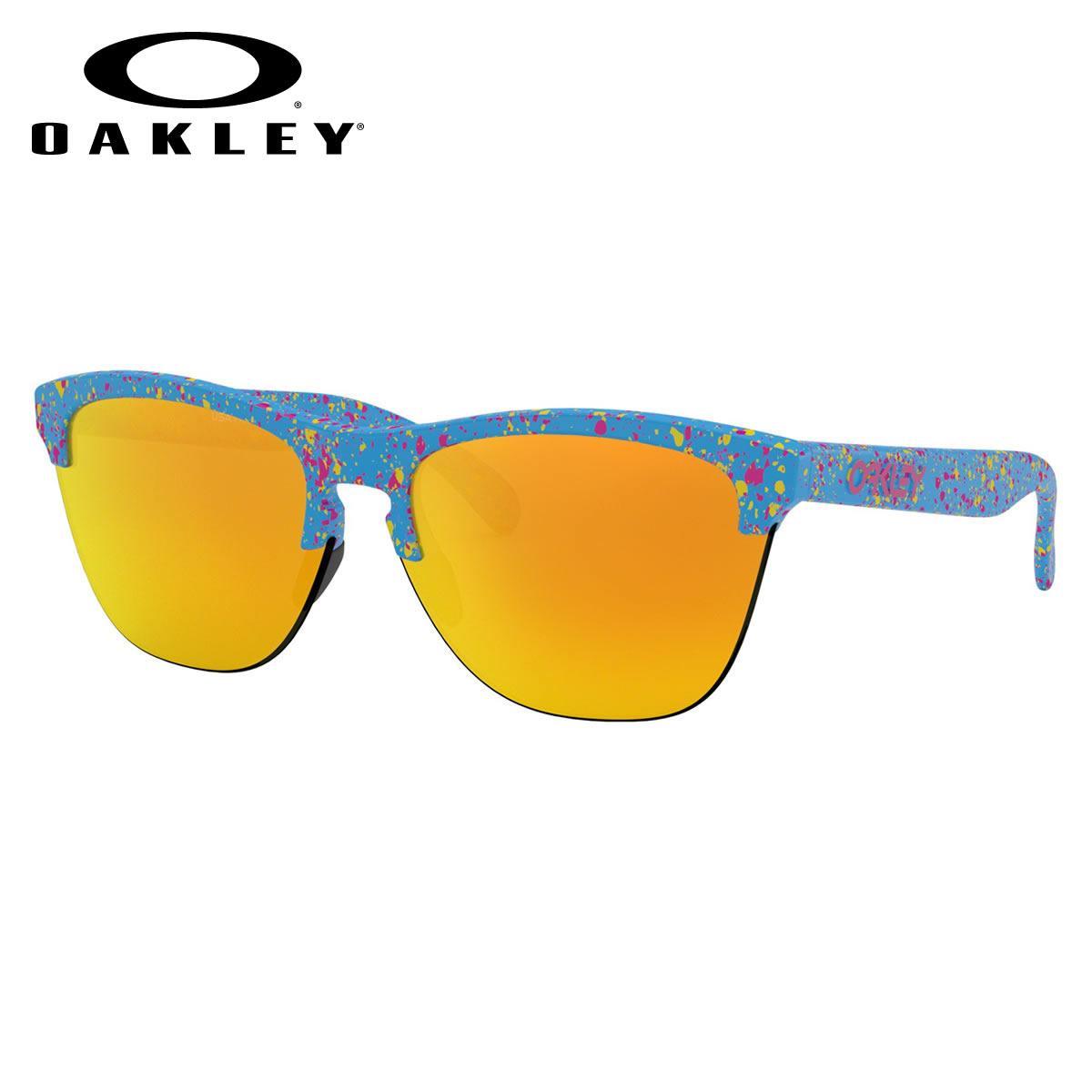 オークリー OAKLEY サングラス OO9374-14 63 FROGSKINS LITE フロッグスキンライト ナイロール ハーフリム Splatter Sky Blue / Fire Iridium キーホールブリッジ オークレー かっこいい メンズ レディース
