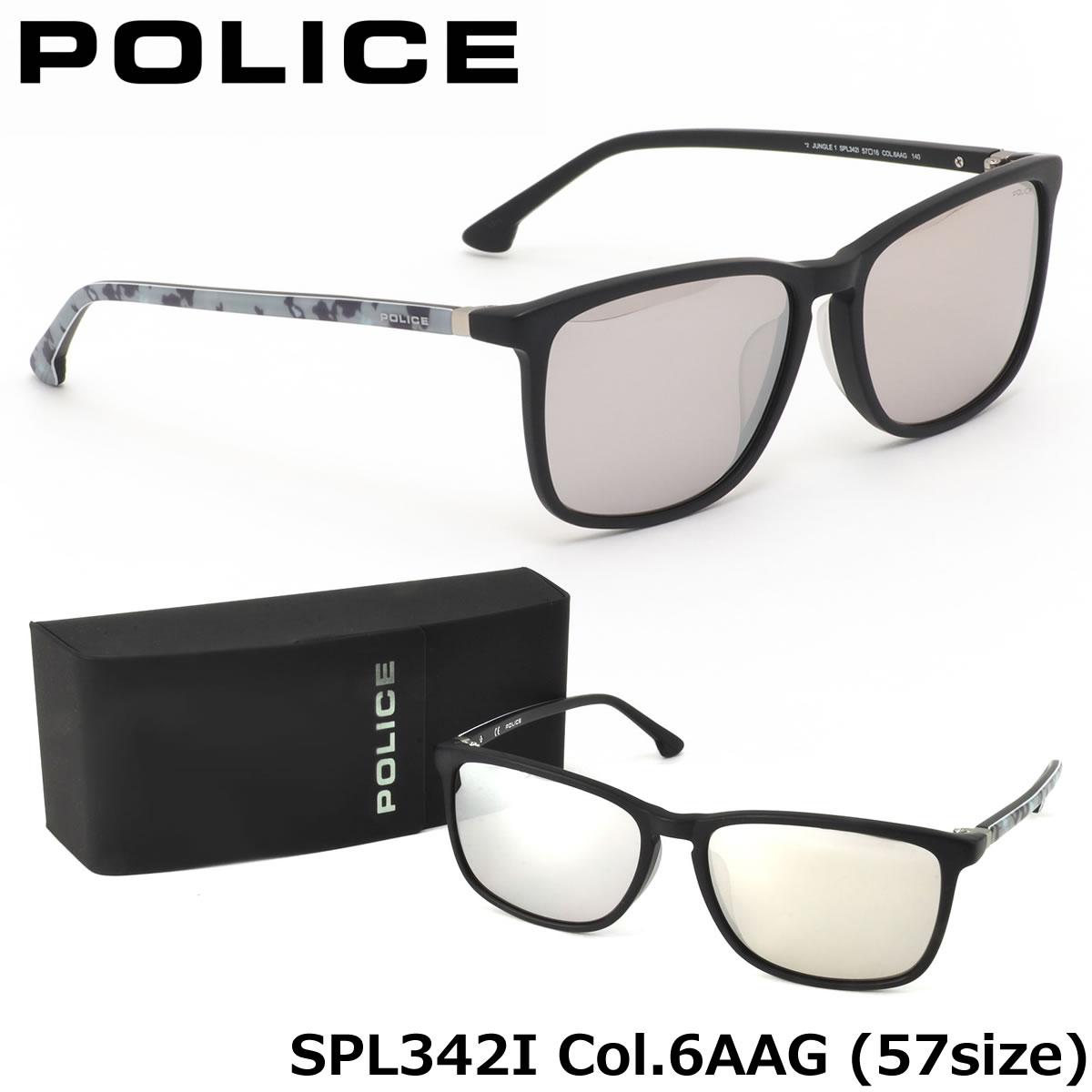 【10月30日からエントリーで全品ポイント20倍】【ポリス】 (POLICE) サングラスSPL342I 6AAG 57サイズJUNGLE1 迷彩 スクエア ミラーPOLICE メンズ レディース