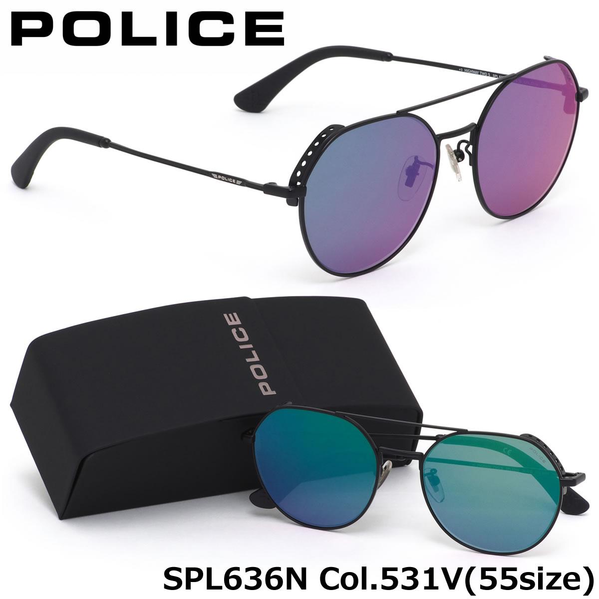 【10月30日からエントリーで全品ポイント20倍】ポリス POLICE サングラスSPL636N 531V 55サイズHIGHWAYTWO5 フラットレンズ ツーブリッジポリス POLICE メンズ レディース
