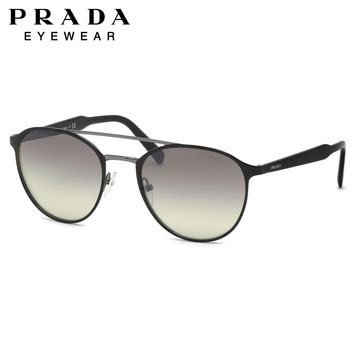 【10月30日からエントリーで全品ポイント20倍】プラダ PRADA サングラスPR62TS 1AB4S1 54サイズボストン 異素材 ミックス モード ツーブリッジ ダブルブリッジ ノーブルプラダ PRADA メンズ レディース