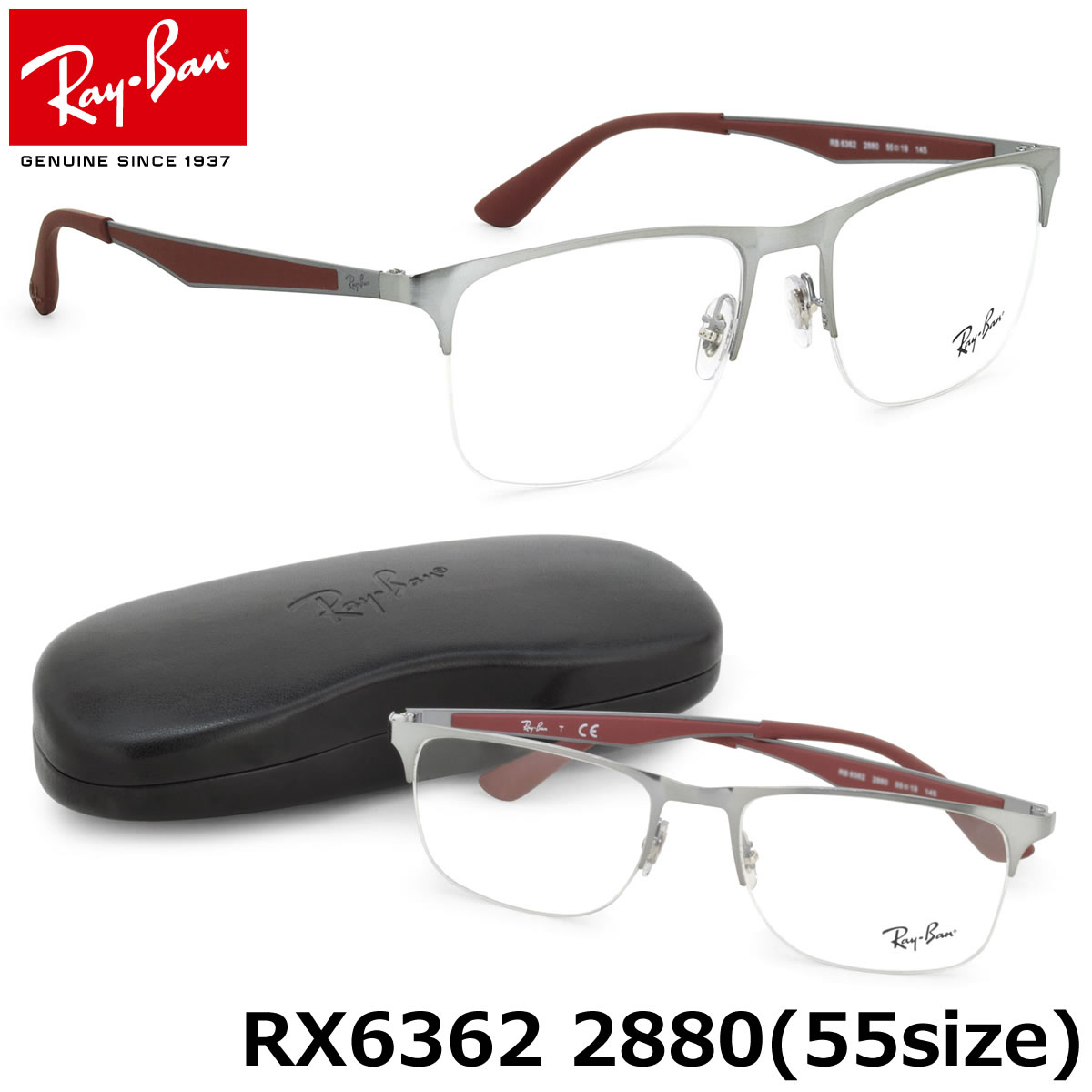 62f0622817c (Ray-Ban) glasses frames RX6362 2880 55 size square nylon Ray Ban RayBan  men s women s