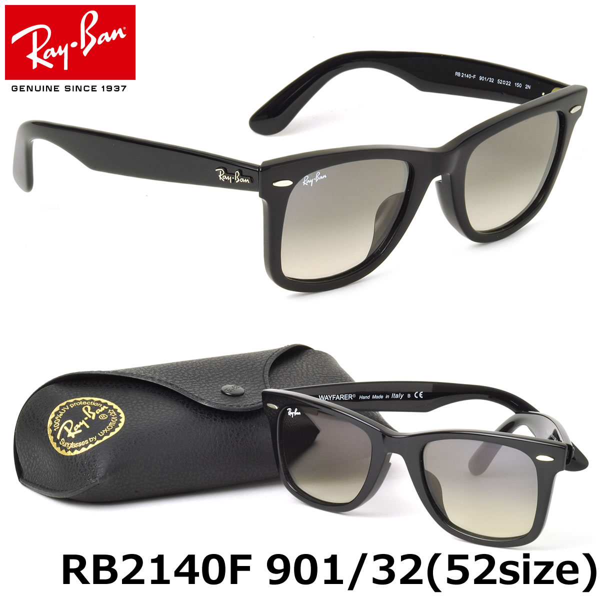 4ad9128e3f39 Ray-Ban Sunglasses RB2140F 901 32 52size WAYFARER FULL FIT (for Asian)  GENUINE NEW rayban ray ban
