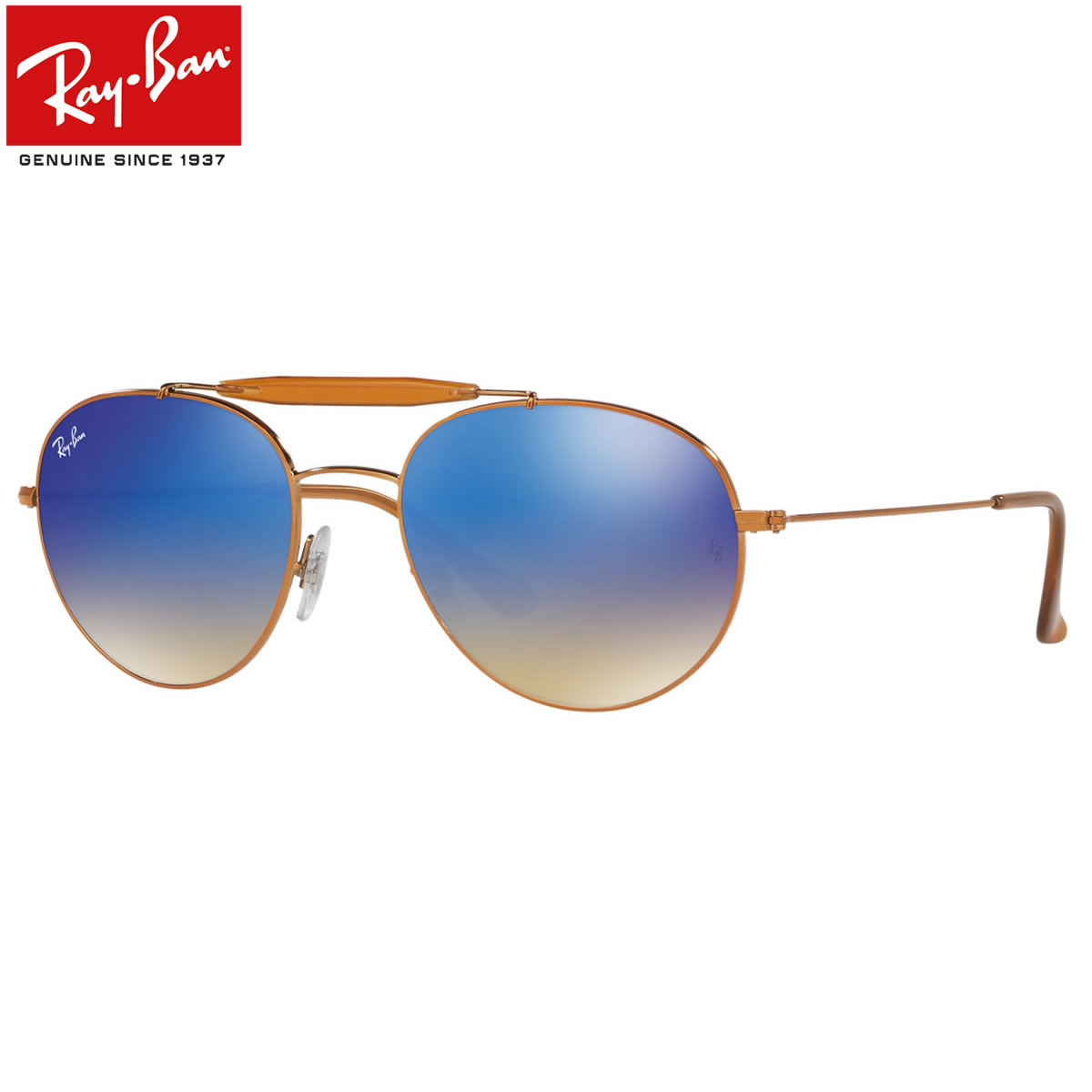 レイバン サングラス ミラー Ray-Ban RB3540 198/8B 56サイズ レイバン RAYBAN 1988B OUTDOORSMAN アウトドアーズマン ツーブリッジ ダブルブリッジ ROUND ラウンド ボストン 丸メガネ ミラー ブルーレンズ メンズ レディース