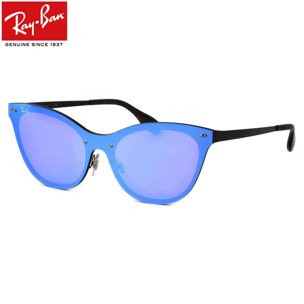 レイバン サングラス Ray-Ban RB3580N 153/7V 143サイズ BLAZE ブレイズ レディースモデル RayBan キャッツ キャッツアイ FLASH LENSES フラットレンズ シールドレンズ 一眼 べっ甲 べっこう ブルーレンズ ミラー