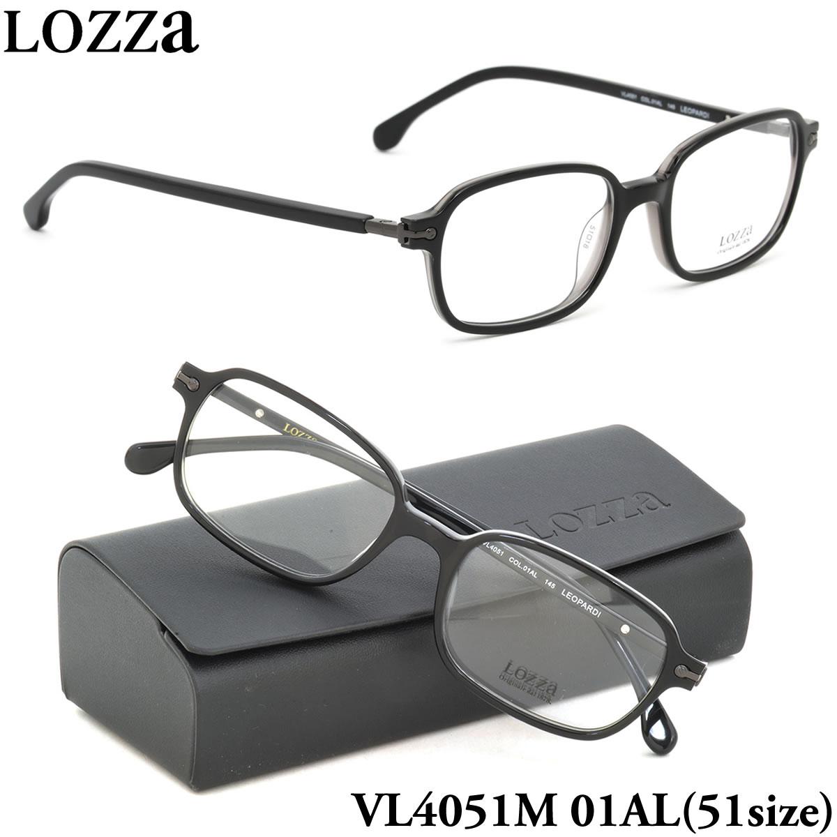 【10月30日からエントリーで全品ポイント20倍】【LOZZA】ロッツァ 眼鏡 メガネ フレーム VL4051M 01AL 51サイズ LEOPARDI バネ丁番 バネ蝶番 スクエア メンズ レディース