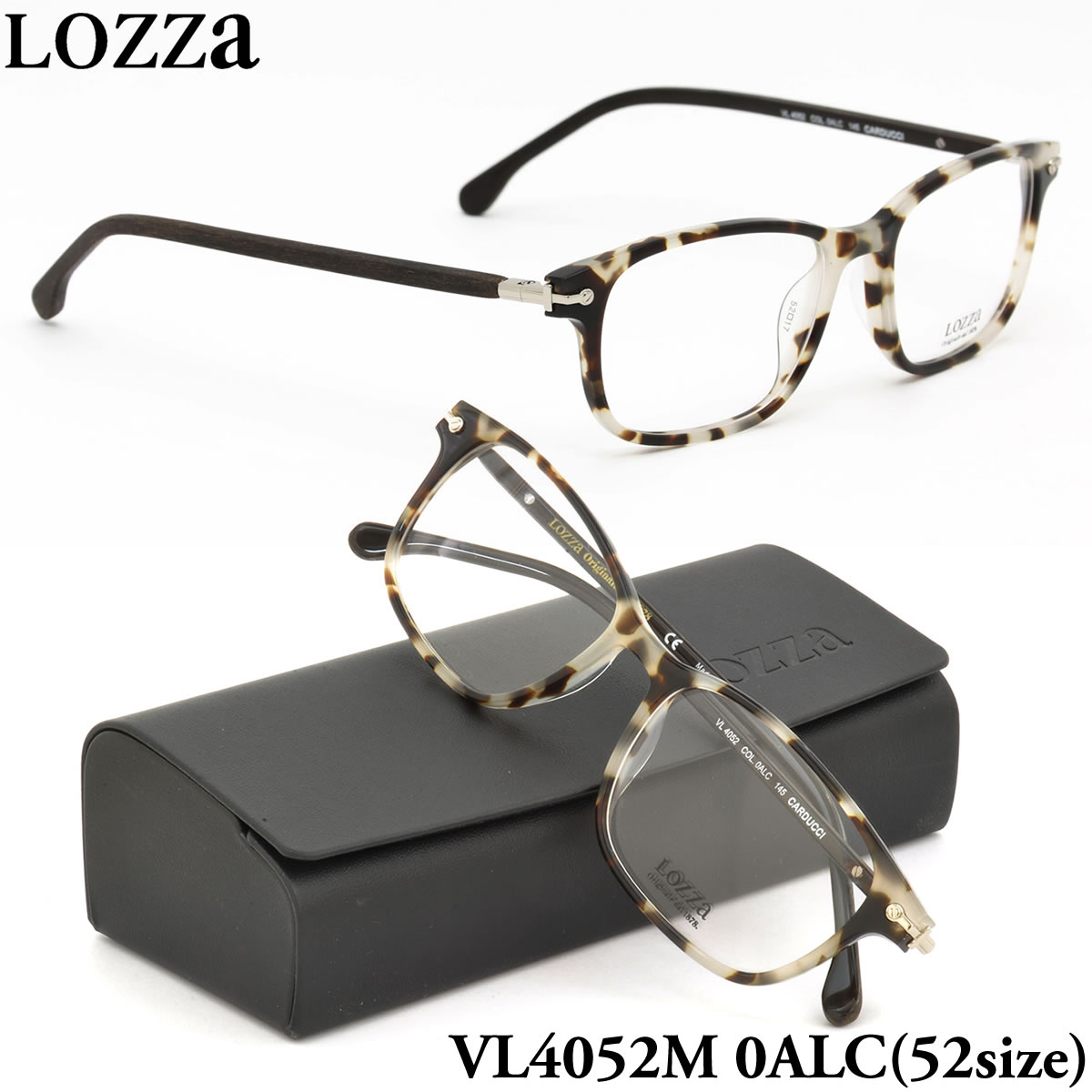 【10月30日からエントリーで全品ポイント20倍】【LOZZA】ロッツァ 眼鏡 メガネ フレーム VL4052M 0ALC 52サイズ CARDUCCI バネ丁番 バネ蝶番 スクエア メンズ レディース