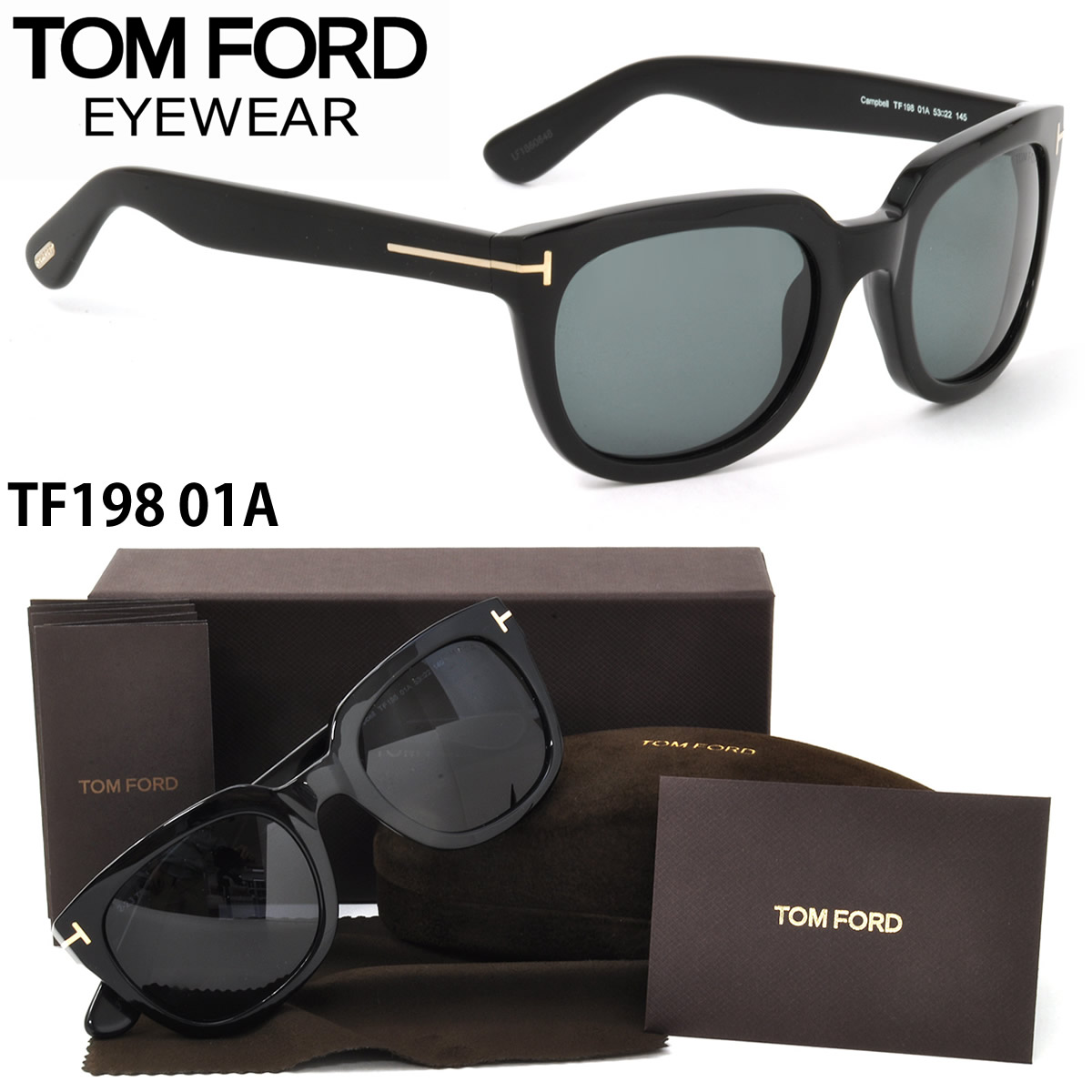fb1d42fca30 Tom Ford sunglasses TF0198 01A 53 size TOM FORD Campbell CAMPBELL FT0198  sealing one service men women