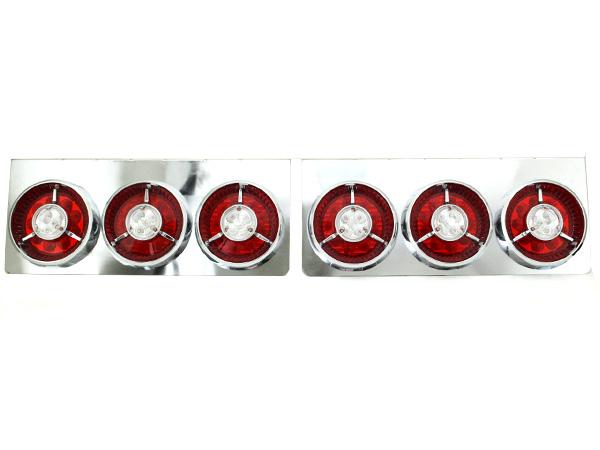 トラック フルLED 24V 丸形 丸型 ヤンキー テールランプ 3連 紅白 赤/白 レッド/ホワイト 左右セット【トラックテールランプ テールライト ダンプ カスタム パーツ レトロ 標準 中型車 大型車 4t/4トン 10t/10トン】